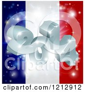 Clipart Of A 3d 2014 And Fireworks Over A French Flag Royalty Free Vector Illustration by AtStockIllustration