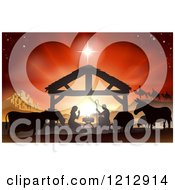 Clipart Of A Silhouetted Nativity Scene At The Manger With Three Wise Men And Animals Under The Star Of Bethlehem Royalty Free Vector Illustration