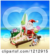 Cartoon Of Santa Waving And Holding A Cocktail While Lounging On A Beach With Vacation Items Royalty Free Vector Clipart