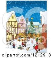 Cartoon Of A Bustling Christmas Market With Santa And People In The Snow Royalty Free Vector Clipart by Holger Bogen