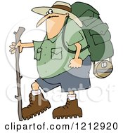 Cartoon Of A Chubby Man In Hiking Gear Holding A Stick Royalty Free Vector Clipart