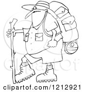 Cartoon Of An Outlined Chubby Man In Hiking Gear Holding A Stick Royalty Free Vector Clipart by djart