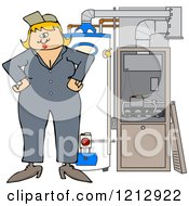 Cartoon Of A Female HVAC Worker Standing By A Water Heater And Furnace Royalty Free Vector Clipart