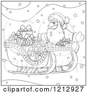 Cartoon Of An Outlined Scene Of Santa By A Sleigh Full Of Gifts Royalty Free Vector Clipart
