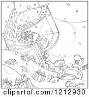 Cartoon Of An Outlined Scene Of Santa Crashing A Sleigh Full Of Gifts Royalty Free Vector Clipart