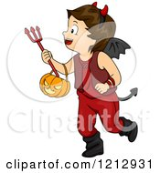 Clipart Of A Halloween Boy In A Devil Costume Royalty Free Vector Illustration by BNP Design Studio
