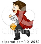 Clipart Of A Halloween Boy In A Dracula Vampire Costume Royalty Free Vector Illustration