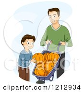 Clipart Of A Boy And His Dad Picking Pumpkins Royalty Free Vector Illustration
