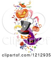Clipart Of Halloween Hats Candy Confetti And Party Items Royalty Free Vector Illustration