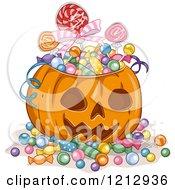 Clipart Of A Halloween Jackolantern Pumpkin Full Of Candy Royalty Free Vector Illustration
