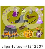 Clipart Of Halloween Items On Green Royalty Free Vector Illustration