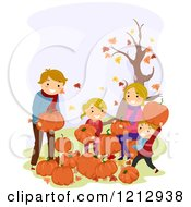 Clipart Of A Happy Caucasian Family Picking Pumpkins At A Patch Royalty Free Vector Illustration