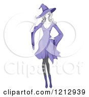 Clipart Of A Woman In A Purple Witch Halloween Costume Royalty Free Vector Illustration