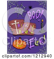 Clipart Of Halloween Words And Items On Purple Royalty Free Vector Illustration by BNP Design Studio