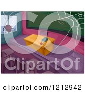 Clipart Of A Spider Weaving A Web Over An Abandoned Classroom Royalty Free Vector Illustration by BNP Design Studio