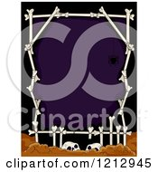 Clipart Of A Human Bone Frame And Skulls Over Purple Royalty Free Vector Illustration