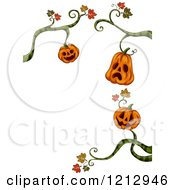 Clipart Of A Border Of Halloween Jackolantern Pumpkins Hanginf From Vines Royalty Free Vector Illustration