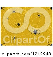 Clipart Of A Seamless Creepy Spider And Web Halloween Pattern Royalty Free Vector Illustration