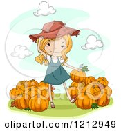 Clipart Of A Country Girl Putting Pumpkins In Piles Royalty Free Vector Illustration