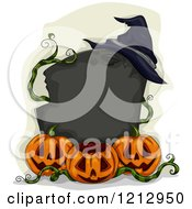Clipart Of A Blank Tombstone Sigh With A Witch Hat And Halloween Pumpkins Royalty Free Vector Illustration