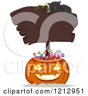 Clipart Of A Halloween Jackolantern Pumpkin Full Of Candy With A Blank Sign And Sleeping Cat Royalty Free Vector Illustration