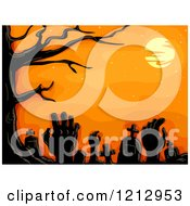 Clipart Of A Bare Tree And Full Moon Over Tombstones And Rising Zombie Hands Royalty Free Vector Illustration