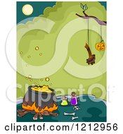 Clipart Of A Boiling Witch Cauldron Pot Under A Tree With A Suspended Jackolantern Royalty Free Vector Illustration
