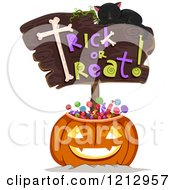 Clipart Of A Sleeping Cat On A Trick Or Treat Sign Over A Pumpkin Filled With Halloween Candy Royalty Free Vector Illustration