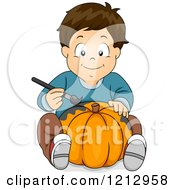 Clipart Of A Boy Painting A Halloween Pumpkin Royalty Free Vector Illustration