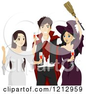 Clipart Of Teenagers Toasting At A Halloween Party Royalty Free Vector Illustration