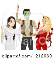 Clipart Of Teens Toasting At A Halloween Party Royalty Free Vector Illustration by BNP Design Studio