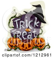 Clipart Of A Witch Hat On A Trick Or Treat Tombstone With Halloween Jackolantern Pumpkins Royalty Free Vector Illustration