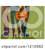 Clipart Of Legs Of Girls In Halloween Leggings With A Jackolantern Bucket Royalty Free Vector Illustration