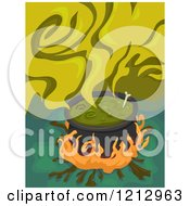 Clipart Of A Boiling Witch Cauldron With Smoke Royalty Free Vector Illustration