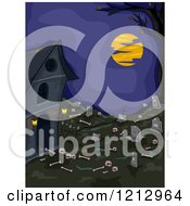 Clipart Of Bones Scattered Around An Abandoned Graveyard At Night Royalty Free Vector Illustration