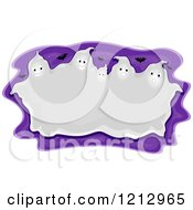 Clipart Of A Huddled Halloween Ghost Frame Over Purple With Bats Royalty Free Vector Illustration