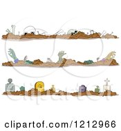 Clipart Of Halloween Borders Of Zombies Skeletons And Tombstones Royalty Free Vector Illustration