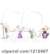 Clipart Of A Lines Of Potions Royalty Free Vector Illustration