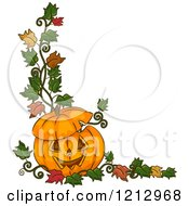 Clipart Of A Carved Halloween Jackolantern Pumpkin With Autumn Leaves Royalty Free Vector Illustration