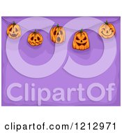 Clipart Of Suspended Halloween Jackolantern Pumpkins Over Purple Royalty Free Vector Illustration