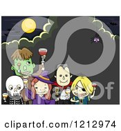 Clipart Of Kids In Halloween Costumes Toasting At A Party Over A Spider And Full Moon Royalty Free Vector Illustration
