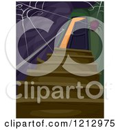 Clipart Of A Spider Weaving A Web Over A Creepy Staircase And Open Door Royalty Free Vector Illustration