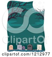 Clipart Of A Full Moon And Bare Tree Branches Over A Cemetery Royalty Free Vector Illustration