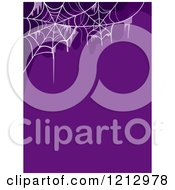 Clipart Of A Purple Halloween Background With Spider Webs Royalty Free Vector Illustration