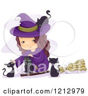 Clipart Of A Little Witch Girl Sitting By A Broomstick And Petting Black Cats Royalty Free Vector Illustration