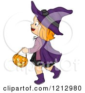 Clipart Of A Halloween Girl Trick Or Treating In A Witch Costume Royalty Free Vector Illustration
