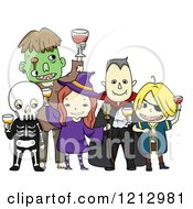 Clipart Of Kids In Halloween Costumes Toasting At A Party Royalty Free Vector Illustration