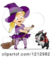 Clipart Of A Happy Blond Girl In A Halloween Witch Costume On A Broomstick By Her Dog Royalty Free Vector Illustration