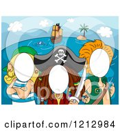 Clipart Of Photo Booth Faceless Pirates Royalty Free Vector Illustration by BNP Design Studio