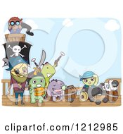 Clipart Of A Monster Pirate Crew On A Ship Royalty Free Vector Illustration